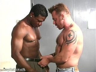 Muscular white guy makes love with black man