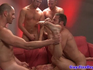 Troy Collins gets facial at a gay orgy