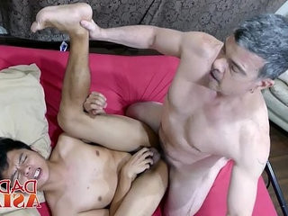 White old gay perv gets his fuck holes plugged by twink dicks