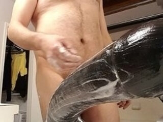 Big dildo goes deep