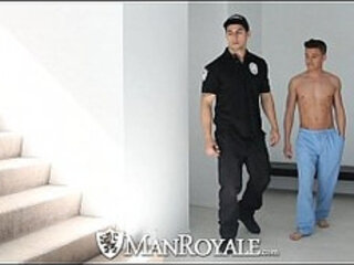 HD ManRoyale Super hot twink get fucked by the security guard