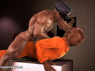3D ebony prisoner gets fucked in the ass by a corrupt cop