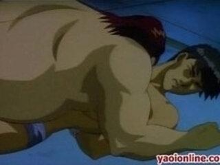 Threesome hentai guys hard sex