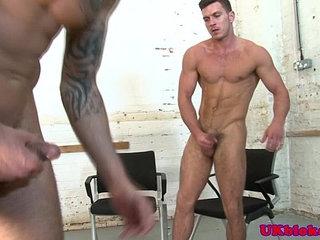Muscled knob jockeys hard arse drilling