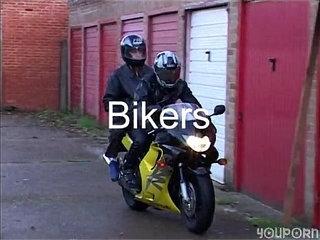 Biker Leather boys pound in the garage