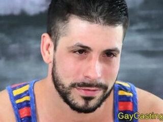 Spanish hunk sucks on cock at gaycastings