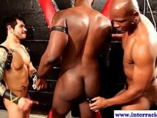 Ebony dudes in BDSM kinky threeway
