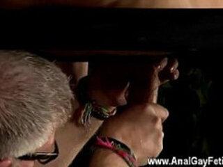 Nude men Master Kane has a new toy, a iron sofa framework suspending