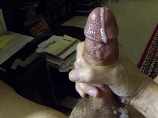 Jacking off my hard cock with slow motion cum shot
