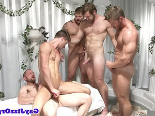 Inked gay orgy dudes fucking eachother