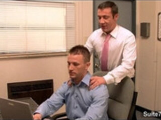 Gorgeous gay gets banged in the office