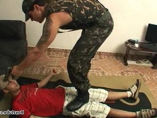 boy step boy soldado feet trampling domination